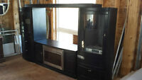 Electric Fireplace / Glass Cabinets