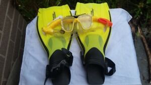 Brand new National Geographic snorkel set (flipper, snorkel,gogg