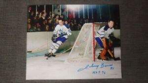 TORONTO MAPLE LEAFS JOHNNY BOWER AUTOGRAPHED 8X10's