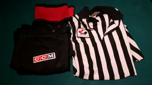 Referee pants, shirt, arm bands and whissel