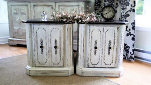 VINTAGE WOOD 2 NIGHT STANDS , SHABBY CHIC FURNITURE