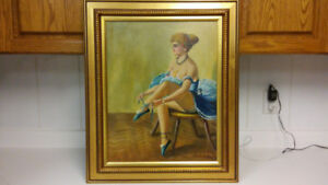 Antique Hungarian artist ballerina oil painting