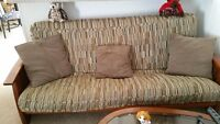 SOLID WOOD COUCH & DOUBLE BED