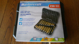 NEW Mastercraft 230-piece Titanium-Coated Drill Bit Set