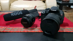 Canon EOS Rebel T5i with 2 lenses and more