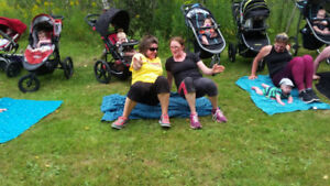 Mommy and baby fitness in the park