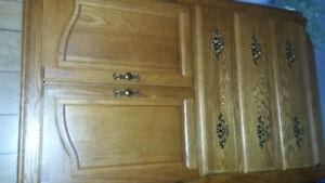 Oak bedroom  set.tallboy.headboard.dresser.night table. Mirror
