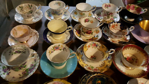 ONLY 18 LEFT!!  Collection of mis-matched teacups and saucers