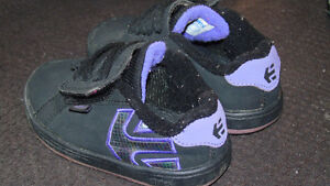 Black and purple Toddler etnies shoes