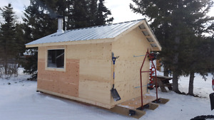 Ice fishing shack or sheds of different sizes