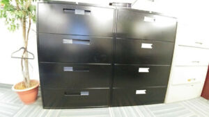 Pair of Black Industrial Filing Cabinets  For Sale