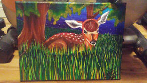 Fawn Acrylic Painting, For Sale By Artist