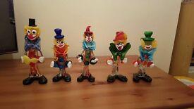 5 lovely retro murano glass clowns