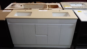 """60"""" VANITY DOUBLE SINK WITH STONE TOP"""