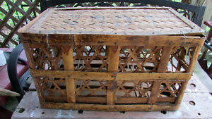 Primitive Small Wicker Chest 19x11x11