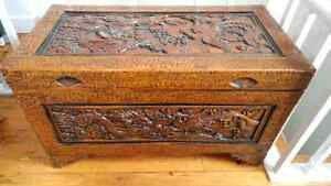 Chinese Hand-carved Wood Trunk