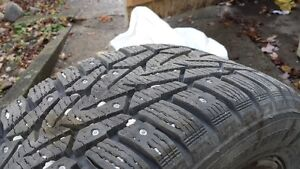 Studded Snow Tires on Winter Rims