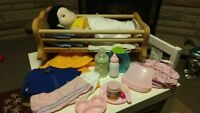 Baby doll, accessories and wooden baby doll crib