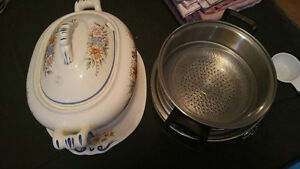 ceramic old style soup pot and double boiler and spring form pan
