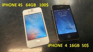 Iphone 4  16gb à  50$  / Iphone  4S  64gb  100$