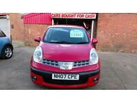 NISSAN NOTE 1.4 SE 1 LADY OWNER FROM NEW BRIGHT RED FSH £15 WEEK P/LOAN 2007 07