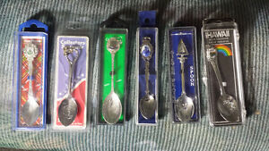 6 Silver Plated Collectible Spoons in Hard Cases