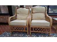 Three-piece Cane Furniture, Settee and Two Chairs