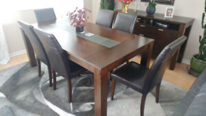 Solid Wood Table & Eight Chairs
