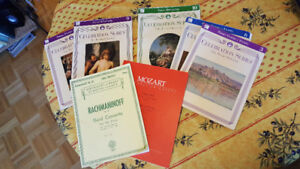 Music books for the piano, old RCM and Rach 3 conc. and Mozart.
