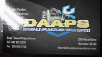 Washers, dryers, fridges, dishwashers and electric stoves repair