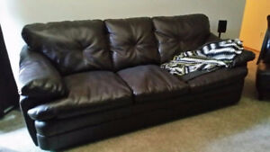 Leather, Dark chocolate brown, Couch and Loveseat