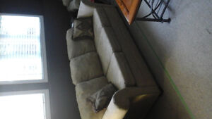 tan microfiber  couch and chair set includes 2 couches and 1 cha