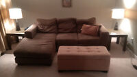 Couch with chaise, Ottoman, and TV/Component stand
