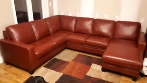 """Top quality """"Palliser"""" all leather sectional couch, valued $7400"""