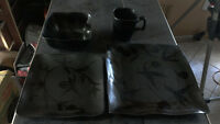 Asian Style black dishes. 8pcs bowls, plates, small plates, mugs