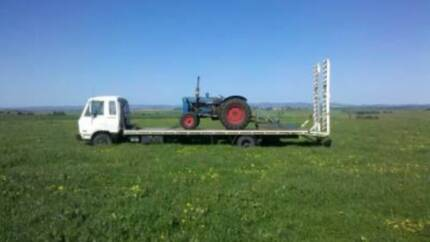 TRANSPORTING, TRACTORS, TRUCKS, COMBINE, SHED FRAMES, MACHINERY