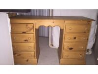 8 draw Pine Dressing table with mirror and stand