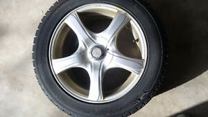 4 Winter tires and rims 205/55/r16 5-108 5-100 bolt Kitchener / Waterloo Kitchener Area image 1