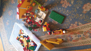 Lego House, platform, train and accessories