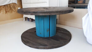 Large re finished wooden spool