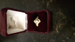 14k white and yellow gold engagement ring with locking band