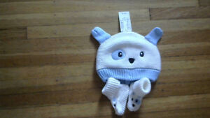 Baby Boys  0-6 Month Knit Hat and Booties Set