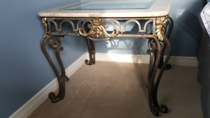 TABLE SET OF 3!!!!!!   MARBLE AND WROUGHT IRON!