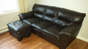 Leather Sofa with Ottoman