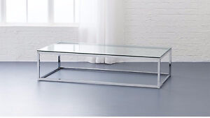 CB2 (Crate and Barrel) smart glass top coffee table