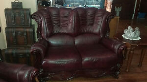 Leather couch,love seat and chair with cherry wood. London Ontario image 2