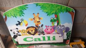 Toddler bed white / animal / safari / jungle theme boy / girl