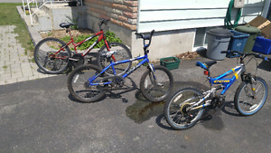 3 youth bicycles for sale