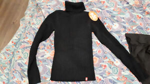 Brand New Esprit Black Turtleneck Knit Sweater with Tag
