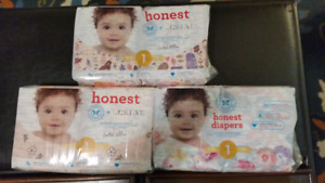 6 New Packs Honest Co. Size 1 Girls Diapers